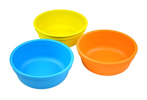 Re-Play Made in the USA 3pk Bowls for Easy Baby, Toddler, and Child Feeding - Sky Blue, Yellow, Orange (Spring)