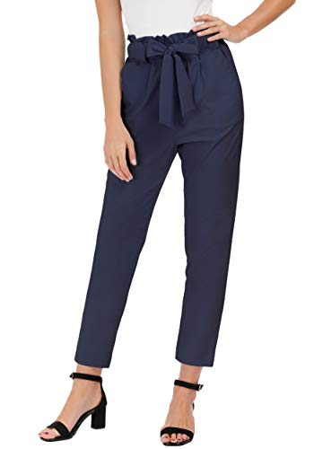 GRACE KARIN Women's Pants Trouser Slim Casual Cropped Paper Bag Waist Pants with Pockets (XX-Large, Navy Blue)
