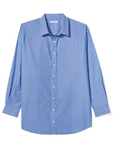 (Amazon Essentials Men's Big & Tall Wrinkle-Resistant Long-Sleeve Solid Dress Shirt, French Blue, 18.5
