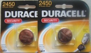 Duracell DL2450 (CR2450) 3V Lithium Batteries. Two Packages -1 battery each package.