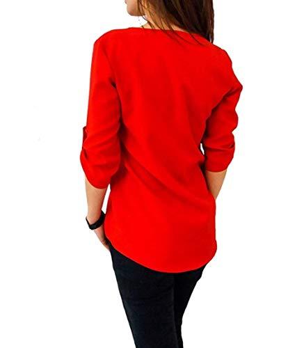 Rd Croises Branch Chemise V Elgante Femme Blouse Manche Sangles Boucle Slim Mtallique Confortable Uni Longues Mode Shirts Manches Printemps Haut Cou Fit Blouse Chic 0gq1gHw