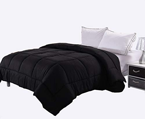 Ghooss All Season Black Bedding Down Alternative Comforter -Hotel Quality Luxury Quilt with Corner Tabs-Hypoallergenic-Super Microfiber Fill -Machine Washable-Queen Black Down Alternative Comforter