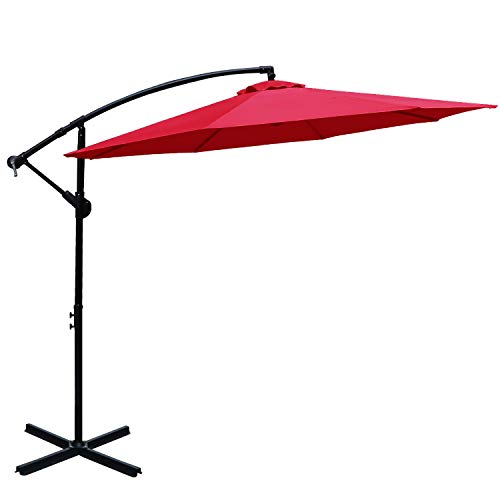 ABCCANOPY 10 FT Hanging Umbrella Cantilever Umbrella Offset Patio Umbrella Outdoor Market Umbrella Easy Open Lift 360 Degree Rotation (Red)