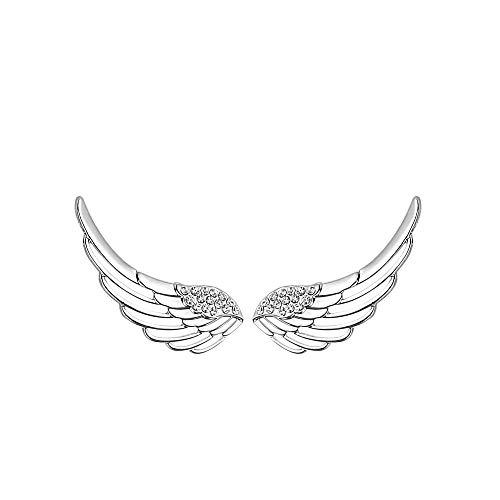 Angel Gold Earrings (Izpack Angel Wings CZ Ear Climber Earrings S295 Sterling Silver Cuff Crawler Hook Studs for Women Girls)