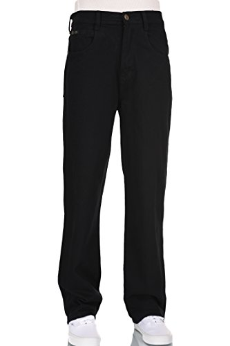 Men relaxed black straight wide leg jeans 36W X 32L