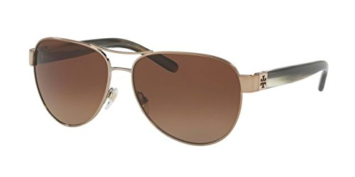 Tory Burch Women's 0TY6051 Light Gold/Olive Horn/Brown Gradient Polarized - Burch Usa Tory