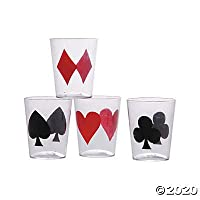 Casino Card Suit Shot Glasses (set of 24) Wedding, Party, Event Supplies