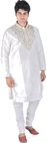 Exotic India White Wedding Kurta Pajama with Zardozi an Size 40 by Exotic India