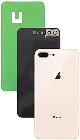 Original iPhone 8 Plus Back Glass Cover Battery Door Replacement w//Adhesive Installed Camera Frame w//Lens Gold