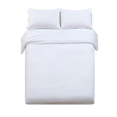 Word of Dream Brushed Microfiber 2 PC Solid Duvet Cover Set, Twin, White ()
