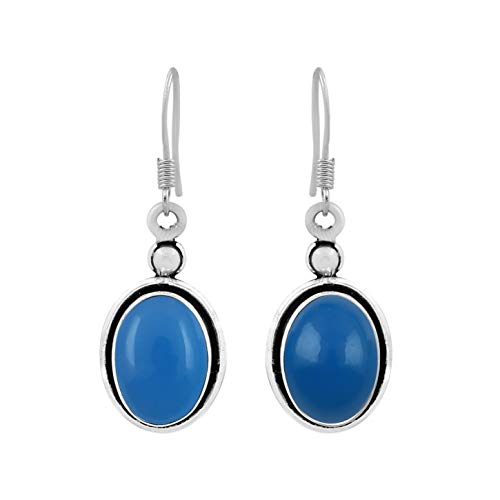 - Natural Oval Shape Chalcedony Dangle Earrings 925 Silver Plated Handmade Bohemian Vintage Style For Women Girls
