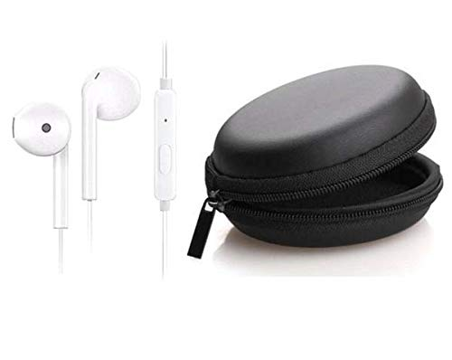 Deep Bass Wired Earphone with with Leather Zipper Headphone Pouch  White