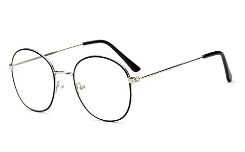 Caixia 9728 Lightweight Wire Frame Thin Rim Round Eyeglasses Small Size (black+silver, 52mm ()