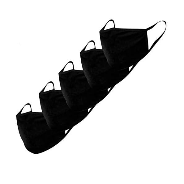 Stoffmaske-Mund-Nasen-Schutz-Behelfsmasken-5-Stck-waschbar-wiederverwendbar-schwarz-Baumwolle-Damen-Herren-Trpchen-Schutz-Anti-Staub-resistent-gegen-Speichel-zum-Bgeln-Staubschutzmaske