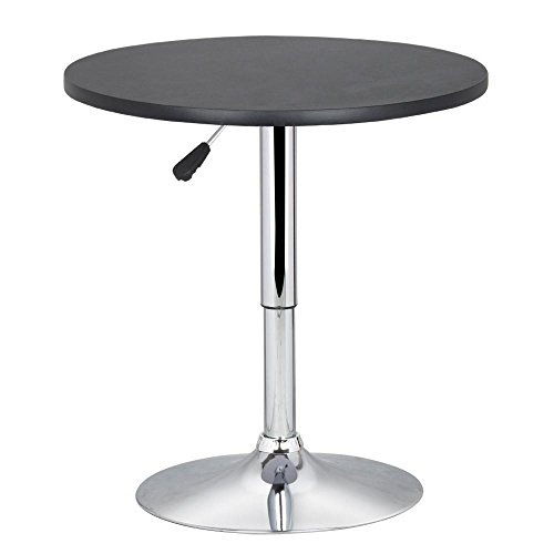 Yaheetech Round Pub Bar Table Black MDF Top with Silver Leg Base 27.4-35.8 inch Adjustable 66Lb Capacity (Inch Bistro Round Table 30)