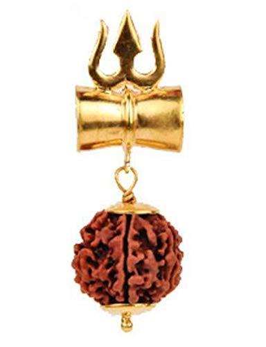 Shiv Shakti Trishul Damru Rudraksha Locket Yantra Pendant | Energized 5 Faced 5 Mukhi Rudraksh Shiv Shakti Kavach | Approx. Size 2X1 inches | Red String shown only for display | US Seller