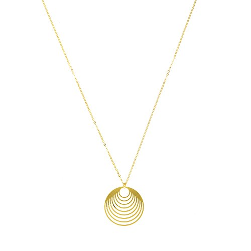 14k Yellow Gold Graduated Circles Pendant Necklace, Adjustable 16