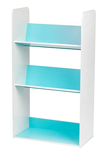 IRIS 3-Tier Tilted Shelf Book Rack, Blue and White