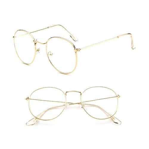 Misright Vintage Men Women Eyeglass Metal Frame Glasses Round Spectacles Clear Lens Optical ()