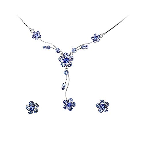 Earrings Floral Crystal Necklace (Faship Stunning Blue Rhinestone Crystal Floral Necklace Earrings Set)