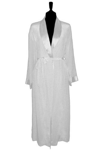 DUET - 100% Silk Long Robe with Matte Body and Shine Trim, Porcelain, Medium
