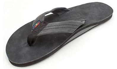 Rainbow Mens Single Layer Leather Sandals, Black, Mens XXX-Large
