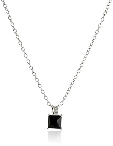 Sterling Silver with Black Onyx Pendant Necklace, 18