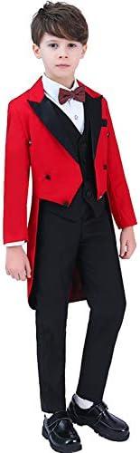 ボーイズスーツテールコートスリーピースピークラペル装飾ボタンパーティー用タキシード