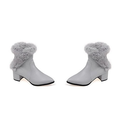 Kitten Gray Heels Women's Toe Zipper Low AmoonyFashion Boots Solid top Closed Pointed Pq8zzwC