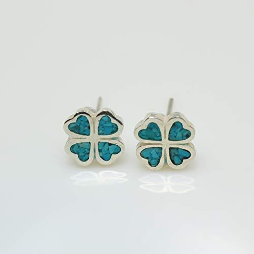 (Four-leaf Turquoise Micro Mosaic Sterling Silver Clover Stud Earrings, Semi Precious Gemstone by Handmade Studio)