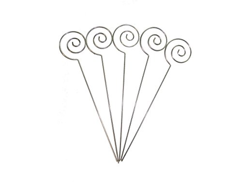 Gift Wire - HOHIYA Metal Wire Floral Place Card Holder Pick Ring Loop Swirl Clip Photo Note Memo Clamp Clay Cake Accessories Decorations DIY Craft Gift Wedding Party Birthday Garden Event 5inch(Silver,Pack of 50)