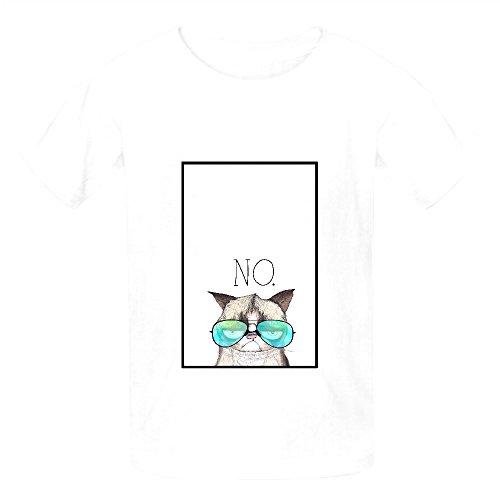 Grumpy Cool Cat Youth Crew Neck Cotton T Shirts White