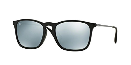 Ray-Ban Men's RB4187F Chris (F) Sunglasses Shiny Black / Green Mirror Silver - Rb 2016