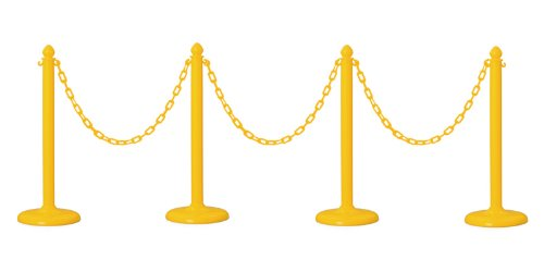 PLASTIC STANCHION IN YELLOW + 32' CHAIN, 4 PCS w/ C-Hook by Crowd Control Center