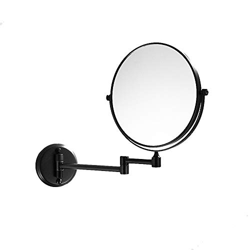 700Brass Wall Mount Oil Rubbed Bronze Makeup Mirror with 5X Magnification, Outline Collection Swinging Vanity Mirror, 8-inch Two-Sided Swivel Bathroom ()