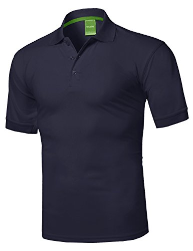 (Solid Dri-Fit Active Athletic Golf Short Sleeves Polo Shirt Navy L)
