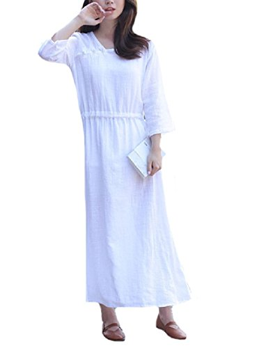 Coolred Women Style Long Dress White Elegent Solid Maxi Cotton Folk Linen rrqdZ4