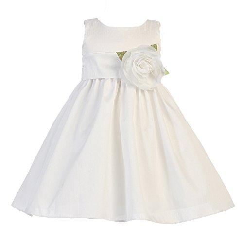 7b67deedde Amazon.com  Gwen and Zoe Polyester Dupioni Dress w  Detachable Sash   Flower  - Flower Girl Dress - Ivory Dress - White Dress  Clothing