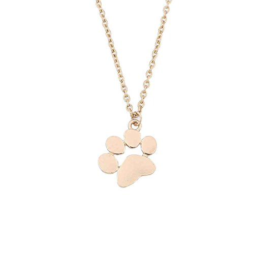 Bobury Cat Dog Paw Print Animal Necklace Women Pendant Long Cute Delicate Chain - Gold Palm Necklace