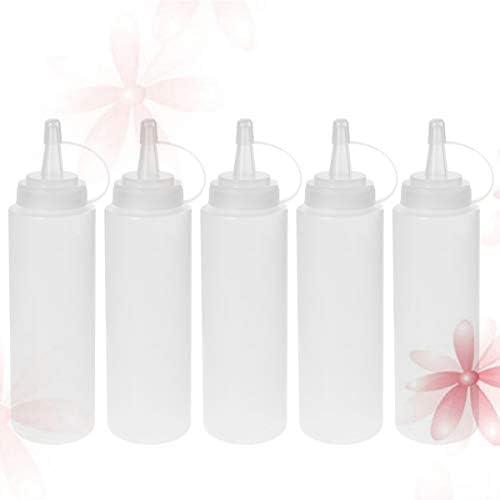 UPKOCH 5 Piezas de Botellas Exprimibles de Pl/ástico para Condimentos de Salsa Aderezo de Pintura Aceite de Oliva Barbacoa con Tapas de Giro de 350 Ml