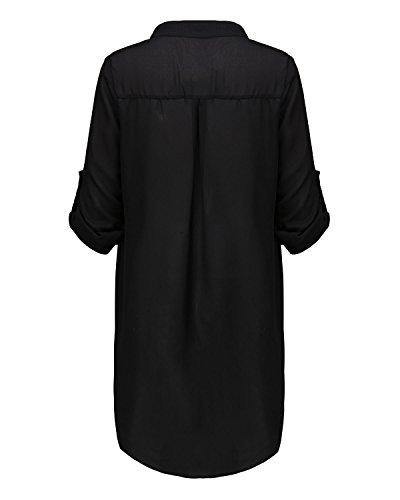 Lunghe Tops ZANZEA V Nero Camicia 2 Sexy Chiffon Camicetta Maniche Donna Neck Shirt AYArBxq