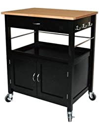 EHemco Kitchen Island Cart Natural Butcher Block Bamboo Top With White Or  Black Base