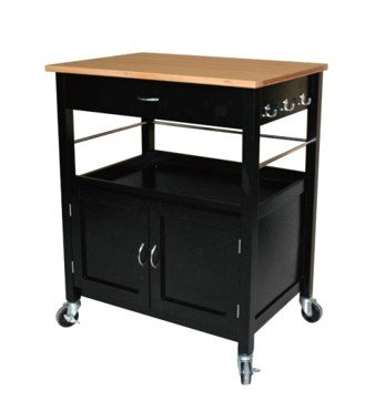 eHemco Kitchen Island Cart Natural Butcher Block Bamboo Top with Black (Black Kitchen Island)