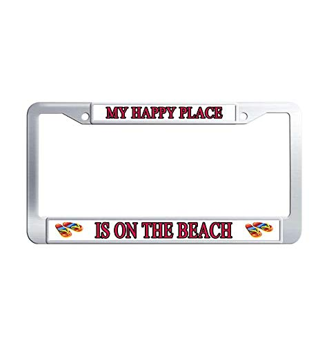 Toanovelty My Happy Place is On The Beach Metal Car Licence Plate Covers, Quote Waterproof Stainless Steel Car Tag Frame 6' x 12' in -