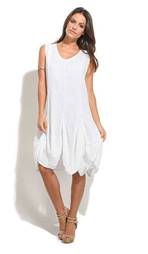 100 % LIN Robe Femme Collection Printemps Et Blanc