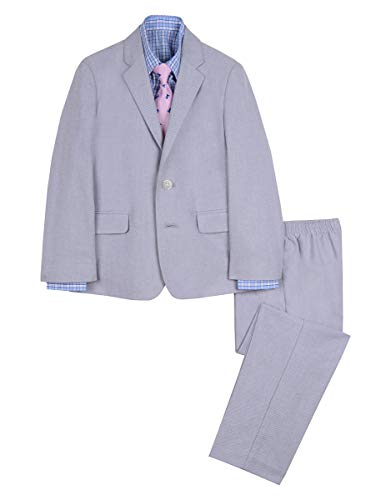 Nautica Boys' 4-Piece Suit Set with Dress Shirt, Tie, Jacket, and Pants, mouse grey, 7]()
