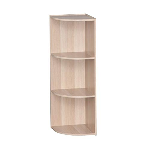 MIK Wood Corner Bookcase - Bookcase with 3 Curved Shelves - Natural