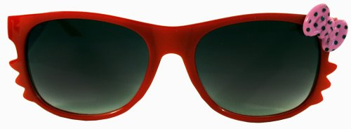 Kitty Whiskers Red w/Pink Polka Dot Bow Dark Shade Lens - Ghetto Sunglasses