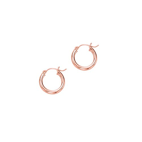14k Pink-rose Gold 3x15mm Diamond Cut Round Hoop Earring Hinged Clasp