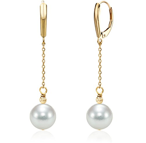 14K Gold Chain White Japanese Akoya Cultured Pearl Leverback Dangle Earrings 8-8.5mm ()